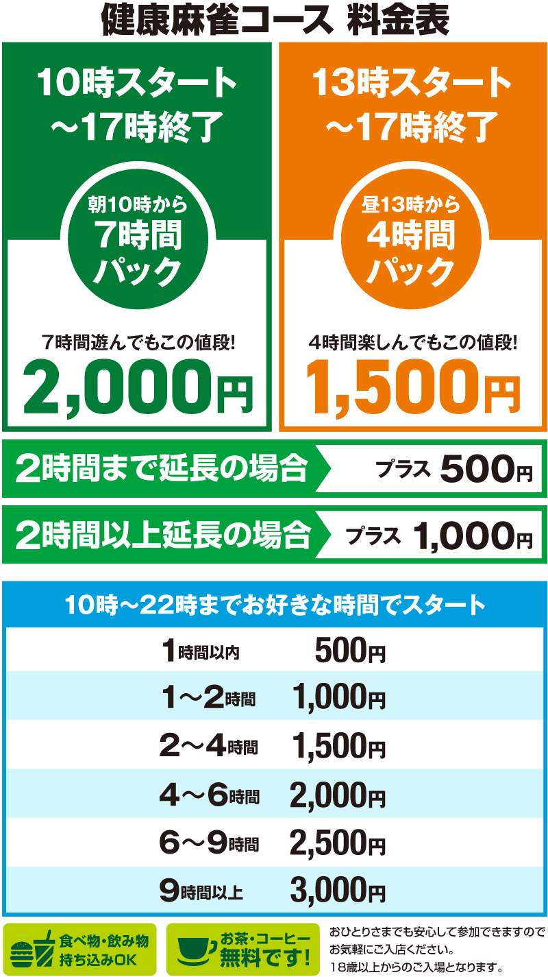 表町にある岡山健康麻雀の価格・コース料金表